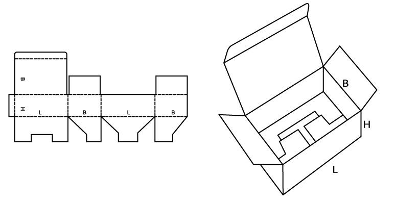 Раскладка коробки из картона